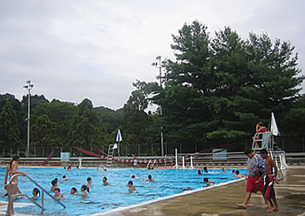 The pool is a popular summer destination.