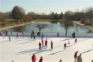 The ice skating rink is open six days a week in winter.